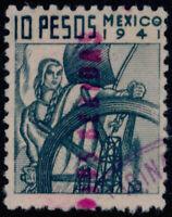 ad41 Mexico Revenue R 752H 10$ 1941 Ex de Bebidas (magenta) MR $7