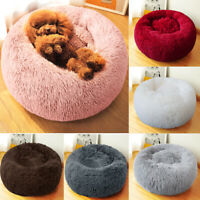 Pet Dog Cat Calming Bed Round Nest Warm Soft Plush Sleeping Mat Comfy and Flufy