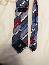 Daniel Hetcher Paris Blue Red And White Silk Tie