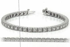 10.2 carat Antique Deco Diamond Tennis 18k Gold Bracelet 34 x 0.30 ct GIA E-F VS