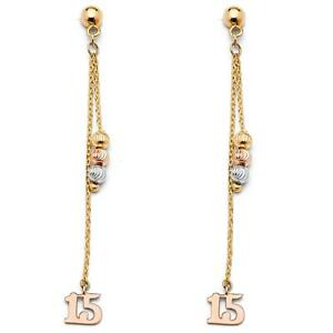 14k Yellow White Rose Gold - 15 Year Charm Bead Drop Earrings Quince Quinceañera