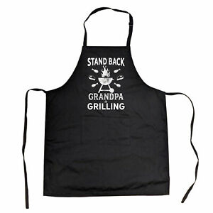 Stand Back Grandpa Is Grilling Cookout Apron Funny Backyard BBQ Father's Day