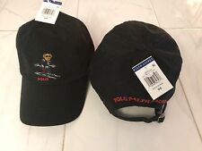 NWT POLO RALPH LAUREN BLACK COTTON BASEBALL CAP POLO BEAR SKI ONE SIZE