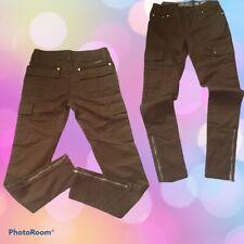 Miss Me Brown Cargo Slim Straight Pants Zippers Hem 27