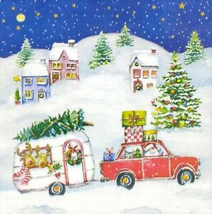 N867# 3x Single Paper Napkins For Decoupage Christmas Santa Car Travel With Deer