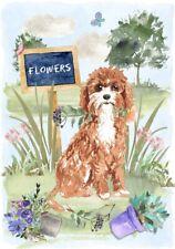 "Cavapoo Dog A6 (4"" x 6"") Blank Card /Notelet Landscape Gardener Design"