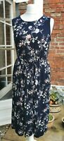 Large (size 14-16) Navy Pleated Midi Dress Floral Oasis NEW