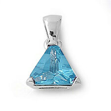 Sterling Silver Solitaire Classic Triangle Pendant Simulated Aquamarine Charm
