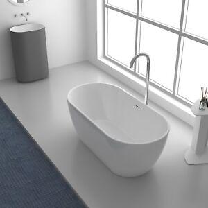 Bathroom Acrylic Free Standing Bath Tub Thin Edge 1500 or 1650 Size  MATT WHITE