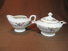 Warwick China Creamer and Sugar Bowl with Lid Floral Pattern Gold Trim