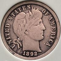 1892-S Barber Silver Dime - VF