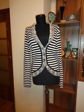 MARC CAIN ANGEL WEAR LIGHT KNIT STRIPED BLACK AND WHITE CARDIGAN-SIZE N3
