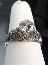 1.5ct White Gemstone Sterling Silver Wedding Art Deco Filigree Ring Size: 5