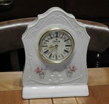 More details for quality donegal parian china, ireland,  quartz mantle clock with rose decoration