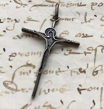 Antique cross Christ 50' Argent Enamel Jesus Devotional Vintage cross During