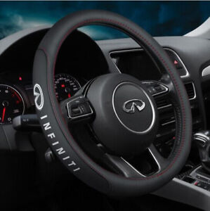 "15"" Car Steering Wheel Cover Genuine Leather For Infiniti New"