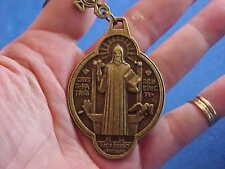 St BENEDICT KEYCHAIN Medal Protection Exorcisms Saint PRAYER Metal Key Ring