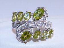 GENUINE 2.66cts! Peridot Oval Cut Cluster Solid Sterling Silver 925 Ring