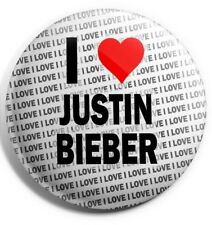 "I Love Justin Bieber Pin Badge 3"" 75mm  - Birthday - Gift - Stocking Filler"