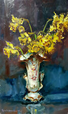 ITALIAN PAINTING YELLOW FLOWERS OLD ANTIQUE VINTAGE OIL HANDMADE ARTWORK ITALY