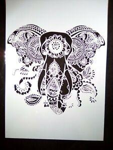 A4 Wall Stencil Reusable Template Henna Mandala Elephant Home Decor Scrapbook #2