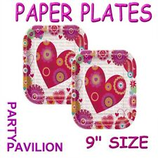 Valentines Party Paper Plates - 8 Valentine's Day Hearts Disposable Tableware