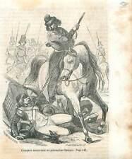 Campagne de Russie 1812 Cosaques Massacre Prisonniers Français GRAVURE 1851