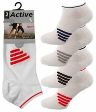 Ladies Active 4 Stripe Cotton Rich Trainer Liner Socks Size 4-8