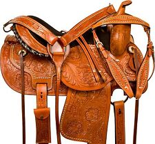 """USED 16"""" BROWN TOOLED LEATHER WESTERN COWBOY PLEASURE TRAIL HORSE SADDLE TACK"""
