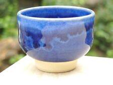 Kyo Kiyomizu yaki ware Guinomi Sakazuki Japanese Sake cup Blue glaze set of 2