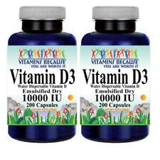 Vitamin D3 10000IU 2X200Caps Water Dispersable Emulsified Dry as Cholecalciferul