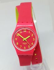 Women`s SWATCH Quartz Watch.IT13. Red dial. 25mm Case.Wrap around strap.