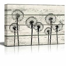 Dandelions in Field Artwork - Rustic Canvas Wall Art - 16x24 inches