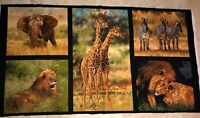African Animal Fabric Panel Giordano Studios SPX Elephant Cheetah Lion Giraffe