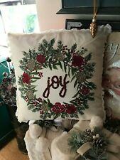 Christmas Embroidered Fringe Joy & Pine Cone Pillow NWT Pier 1