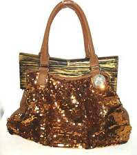 NWT Fabulous Large Sparkling Sequinned Gold Handbag w/Wooden Clasp $174.95