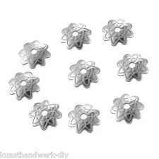KUS 50 Edelstahl Silber Perlkappen Perlenkappen Endkappen Blumen 7mmx1.5mm