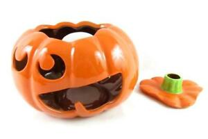 Tag Ceramic Jack' O Lantern Candle Holder Pumpkin Removable Lid Halloween