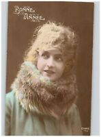 Bonne Annee Woman with Fur Neck Warmer Hand Colored Happy New Year 1920 RPPC