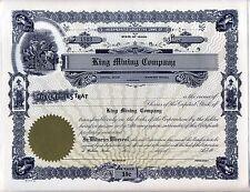 King Mining Company Stock Certificate Wallace Idaho