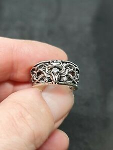 WILD WOLF ring sterling silver wedding band mens size 8 us