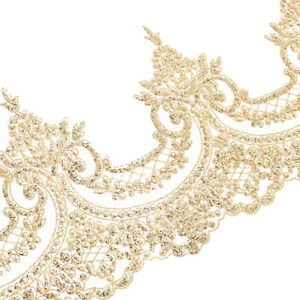 Novelty Vintage Embroidered Motifs on Organza with Beads and Sequins Lace Trim or Applique 1 Wide