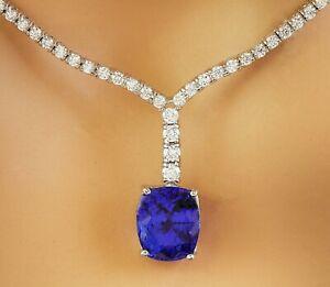 9.14 Carat Natural Tanzanite 18K White Gold Diamond Necklace