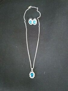 costume jewellery Simulated Sapphire diamond earrings set with necklace brandnew