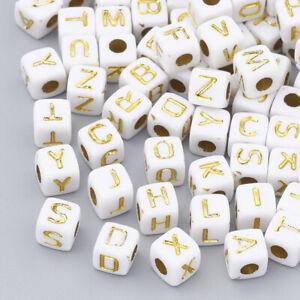 100 BULK Alphabet Letter Beads Cube Assorted Lot Wholesale White Gold 4.5mm