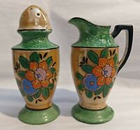 Vintage Lusterware Creamer & Sugar Shaker - Florals - Muffineer - Moriage Japan