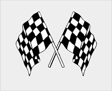 Checkered Double Flag Sticker Decal Vinyl Car Bike Laptop Macbook Bumber Decor