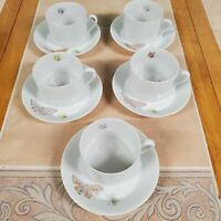 """Fitz and Floyd """"Pastel Poppy""""  Set Of 5 Teacups And Saucers"""