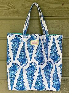 Lilly Pulitzer for Estee Lauder Tote Bag Blue White Sea Shells
