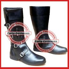 Medieval Leather Shoe black High Quality 4 Buckle Vintage Role Play Boots ra163